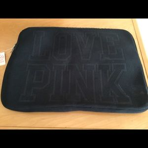 VS Love pink black laptop sleeve